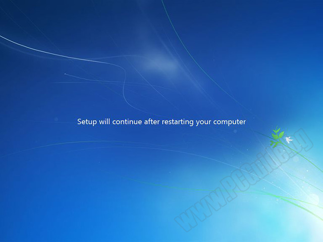 Setup will continue after restarting your computer