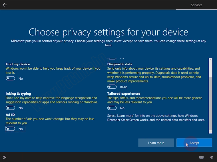 Choose privacy settings