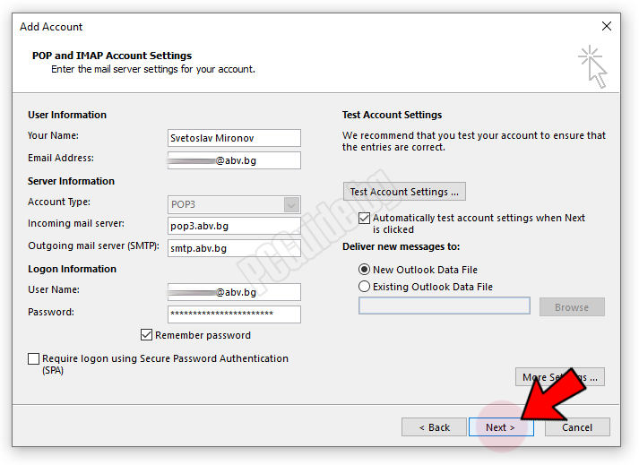 POP and IMAP account settings-Next