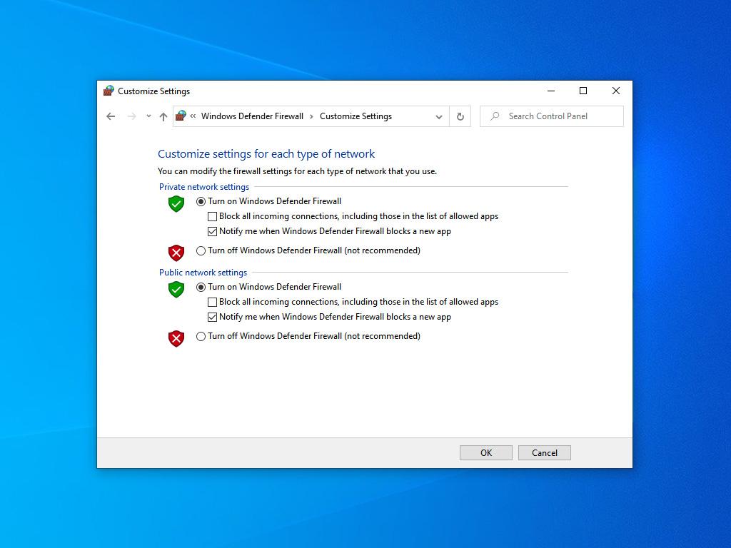 Windows Defender Firewall настройки
