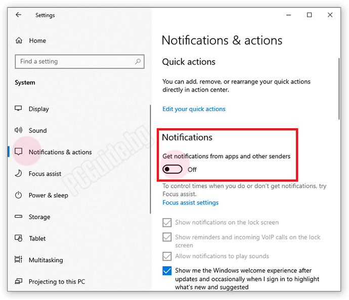 Start > Settings > System > Notifications & actions